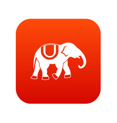 Elephant icon digital red vector
