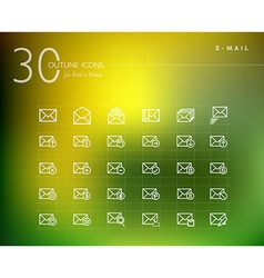 Emailing status outline icons set vector image vector image