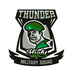 Emblem logo military man vector
