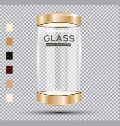 Empty golden glass showcase vector