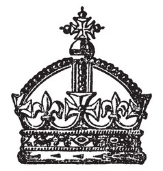 English crown is a antique crown vintage engraving vector