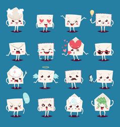 Envelope message emojji character emotions face vector