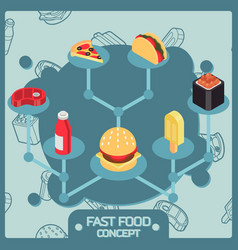 fast food color isometric concept icons vector image
