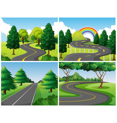 Four scenes of roads in the park vector