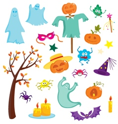 Happy Halloween set with pumpkins ghosts spiders vector image