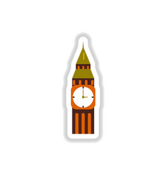 In paper sticker style big ben vector