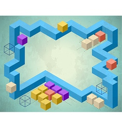Infographics styled frame with cubes vector