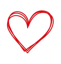 linear cartoon hand drawn heart doodle vector image