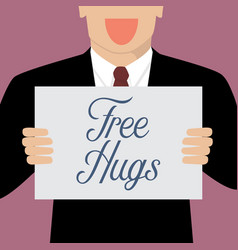 Man showing free hugs sign vector