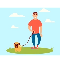 Man walking with a dog vector image vector image