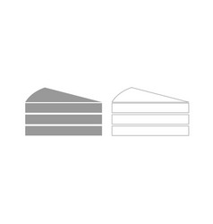 Piece of cake grey set icon vector