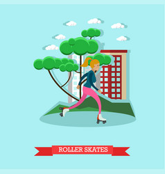 roller skating girl in flat vector image