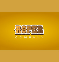 Roper western style word text logo design icon vector