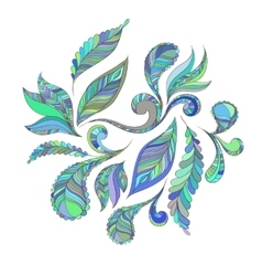 Set blue feathers vector image