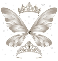 Shining tiaras set vector