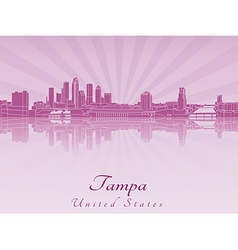 Tampa skyline in purple radiant orchid vector image
