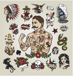 Tattoo flash set with tattoo hipster man vector