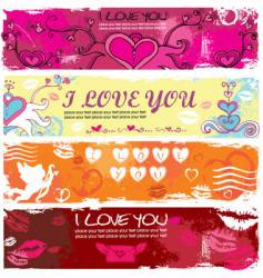 valentine grunge banners vector image vector image