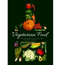 Vegetarian food poster fresh farm vegetables vector