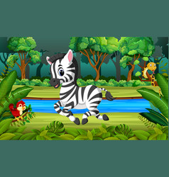 zebra in the forest vector image vector image