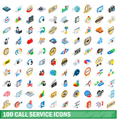 100 call service icons set isometric 3d style vector