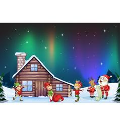 santa clause kids and reindeer vector image