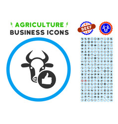 Cow thumb up rounded icon with set vector