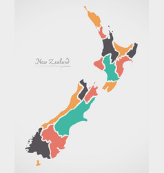 New zealand map with states and modern round vector
