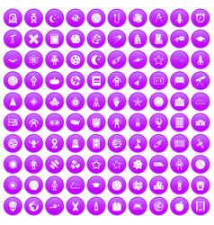 100 astronomy icons set purple vector