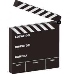 film clapper 3d open vector image