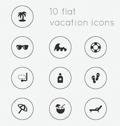 Modern flat icons collection of vacation theme vector