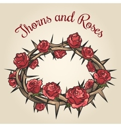 Thorns and roses engraving emblem vector