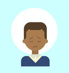 african american male sad emotion profile icon vector image vector image