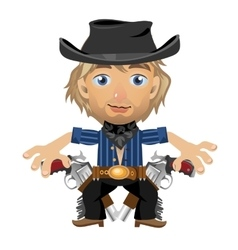 Blond guy in the hat with holster and guns vector
