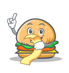 Burger character fast food with menu vector