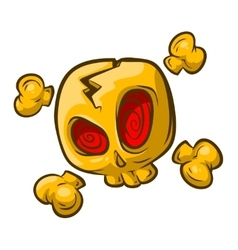 Cartoon yellow skull with red eyes vector