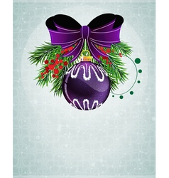 Christmas bauble with lilac bow vector image vector image