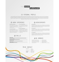Creative simple cv template with colorful lines at vector