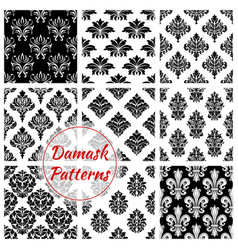 damask ornament seamless patterns set vector image vector image