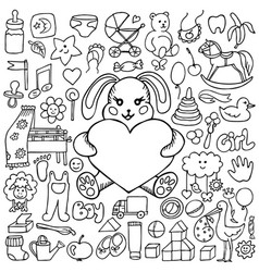 doodle baby mock up vector image