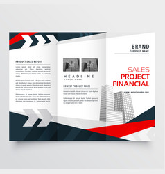 Elegant red black business trifold brochure vector