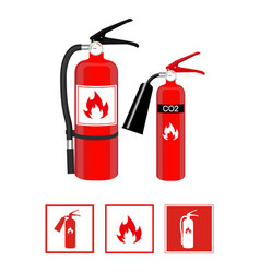 fire extinguishers in realistic style and flat vector image