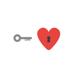 Flat design style concept of love key and heart vector