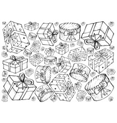 Hand drawn of gift boxes with ribbons background vector