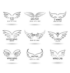 Hand drawn wings logo set doodle winged vector