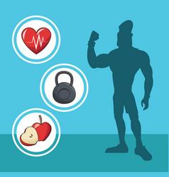 Healthy man athletic diet sport silhouette vector