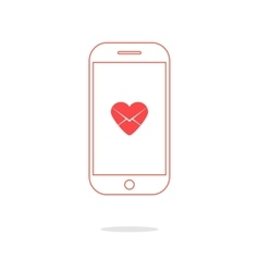 heart letter icon in red outline smartphone vector image vector image