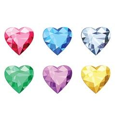 Heart shaped brilliants no gradients vector image vector image