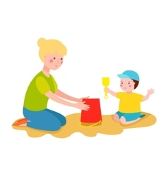 Kid playing sandbox vector image vector image