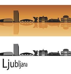 Ljubljana skyline in orange background vector image